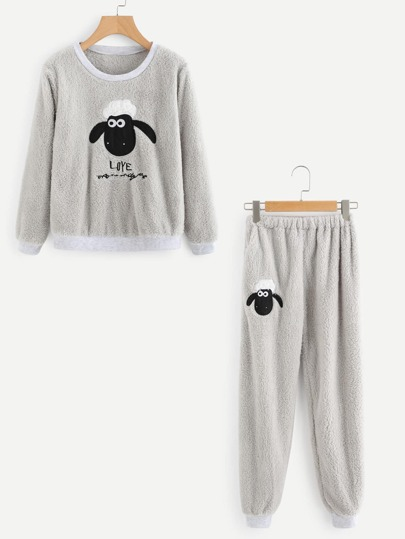 Sheep Embroidered Top And Pants Pajama Set