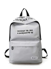 Letter Embroidery Zipper Front Canvas Backpack