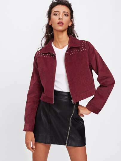 Studs Detail Zip Up Cord Jacket