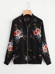 Floral Print Chiffon Jacket
