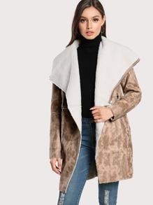 Drape Collar Zip Pocket Faux Shearling Coat