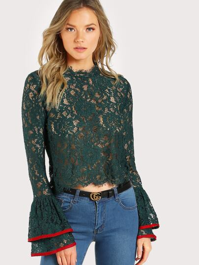 Contrast Trim Bell Cuff Lace Top