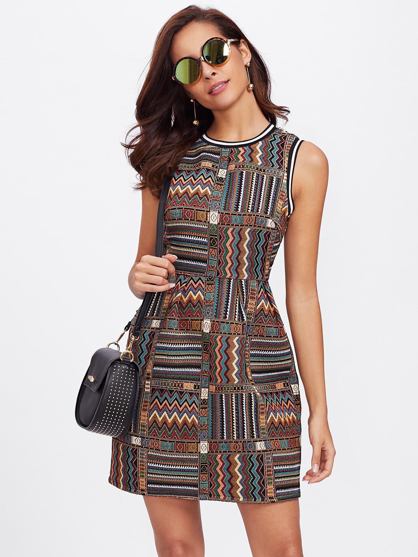 Striped Trim Tribal Embroidered Dress цена 2017