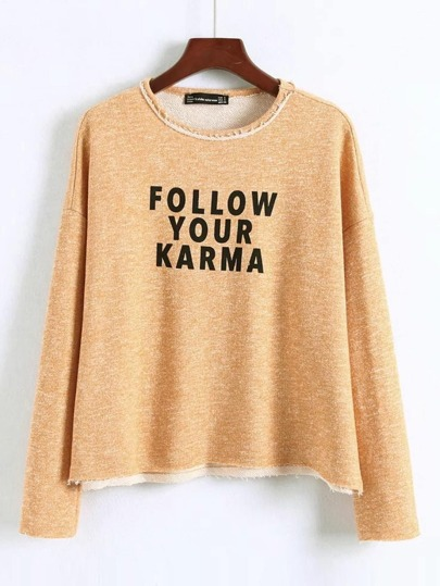 Slogan Print Raw Hem Sweatshirt