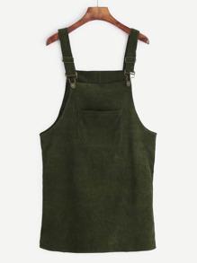 Corduroy Dungaree Dress With Pocket