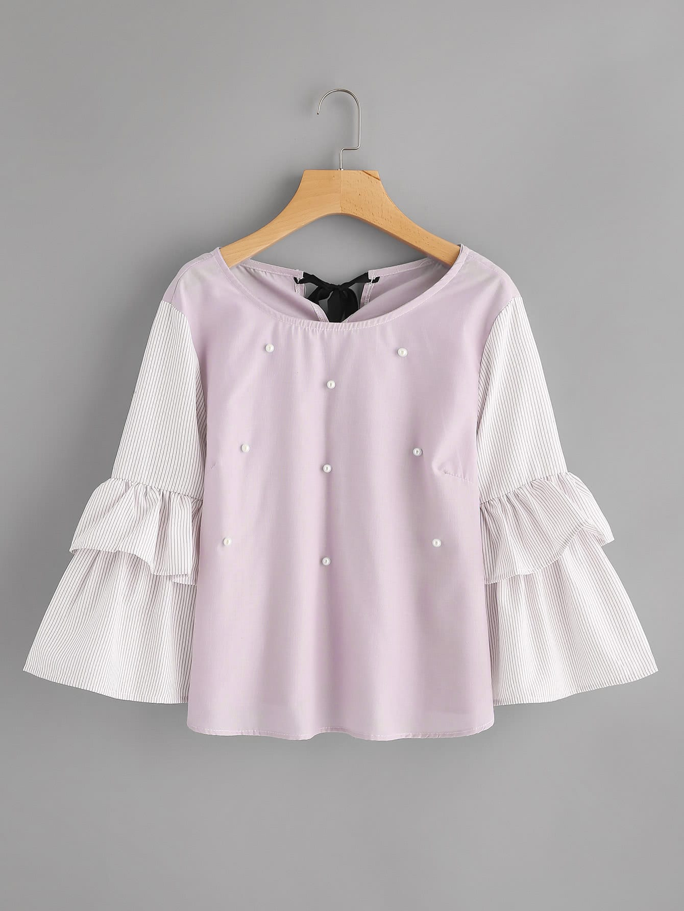Pinstriped Frill Sleeve Tie Back Pearl Beading Blouse pearl beading frill detail sweatshirt