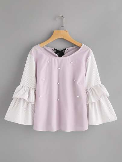 Pinstriped Frill Sleeve Tie Back Pearl Beading Blouse