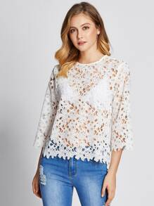 Guipure Lace Scalloped Top