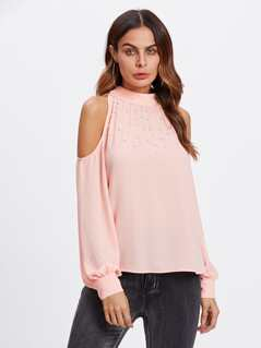Open Shoulder Pearl Embellished Tied Back Top