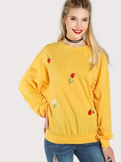 Drop Shoulder Flower Embroidery Sweatshirt