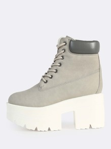 Lace Up Platform Boots GREY