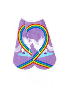 Unicorn & Rainbow Print Invisible Socks