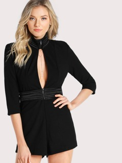 High Neck Front Cutout Romper BLAC