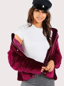 Velvet Hooded Puffer Coat