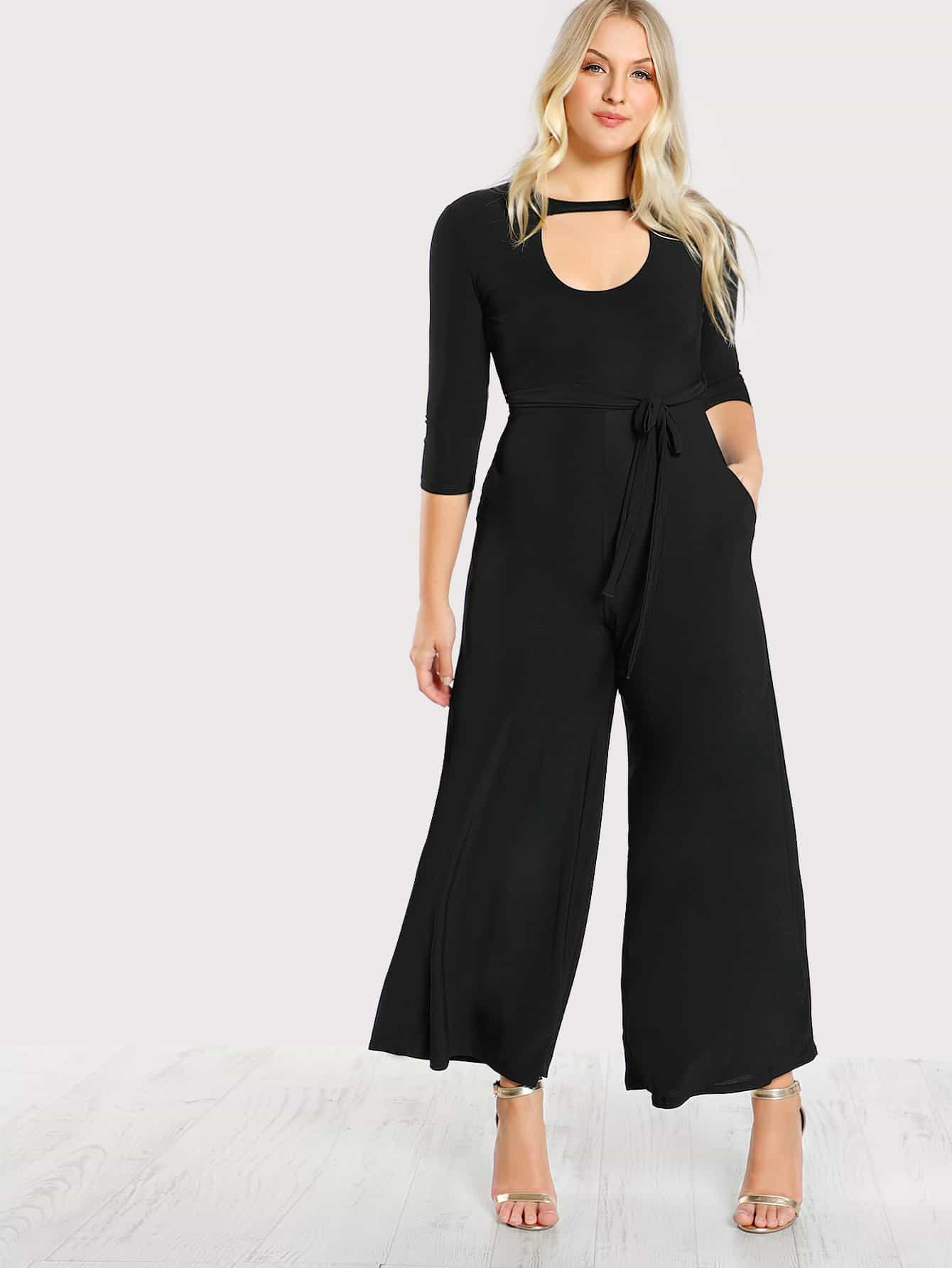 Image of Double Keyhole Belted Palazzo Jumpsuit