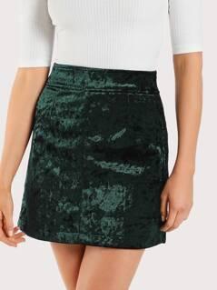 Velvet Mini Skirt GREEN