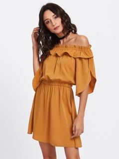 Overlap Sleeve Frill Off Shoulder Blouson Dress