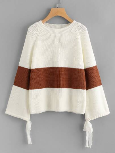 Color Block Bell Sleeve Tie Cuff Sweater