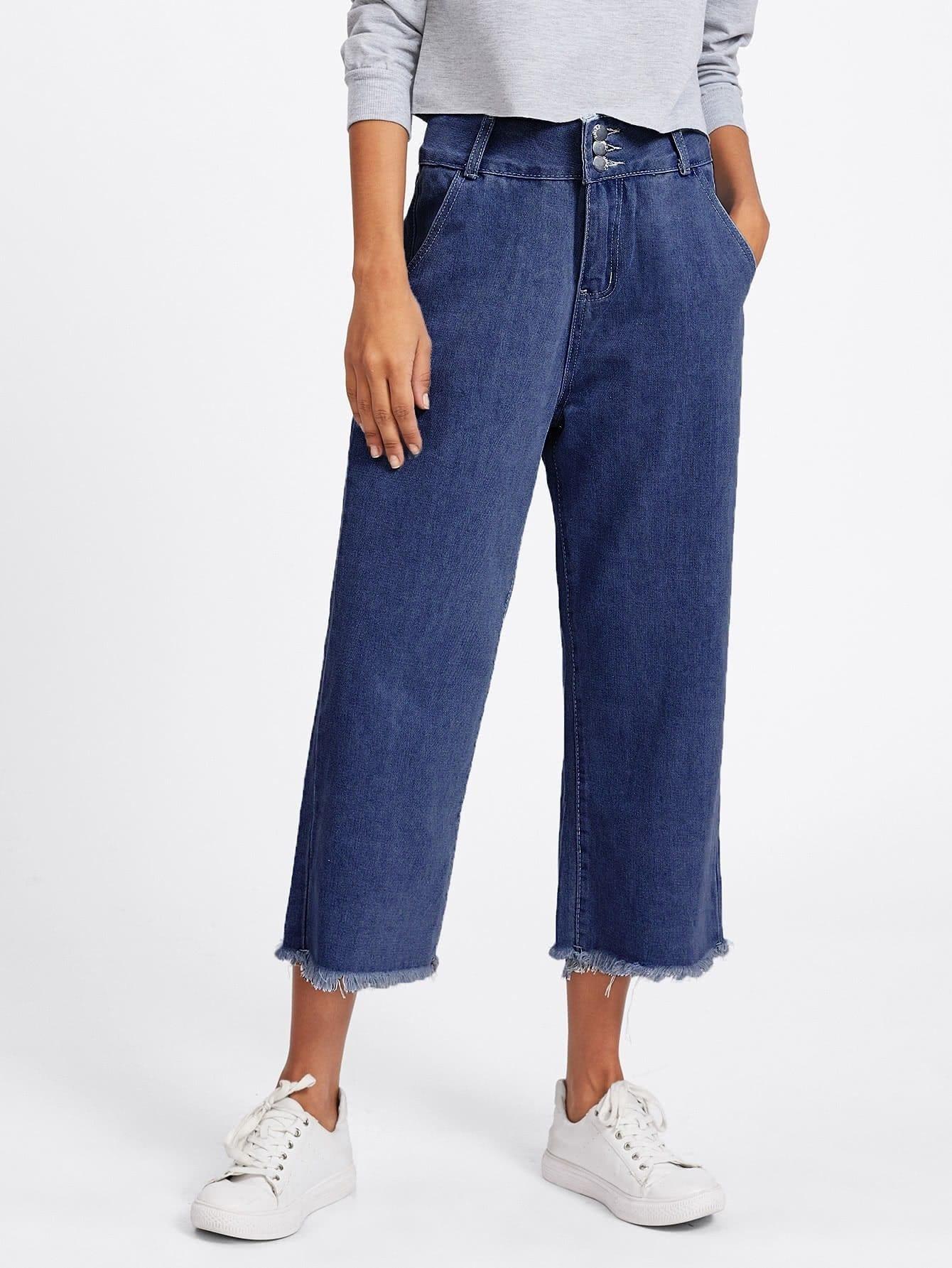 Ripped Hem Wide Leg Jeans