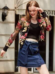 Floral Embroidered Mesh Jacket