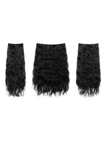 Jet Black Clip In Curly Hair Extension 3pcs