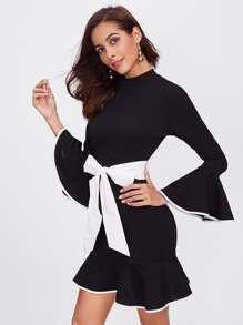 Contrast Binding And Belt Ruffle Dress