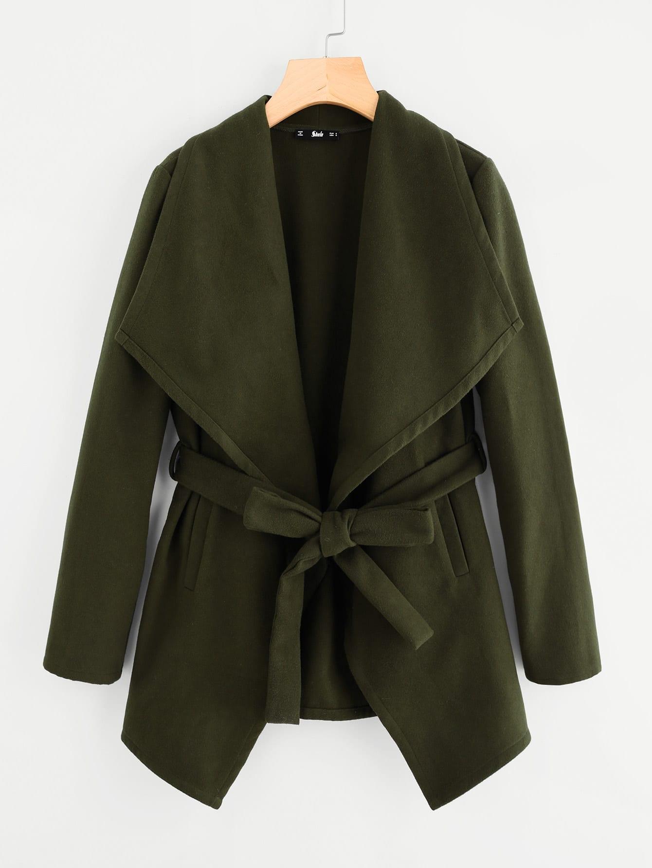 Drape Collar Self Belted Coat drape front belted skater suede coat