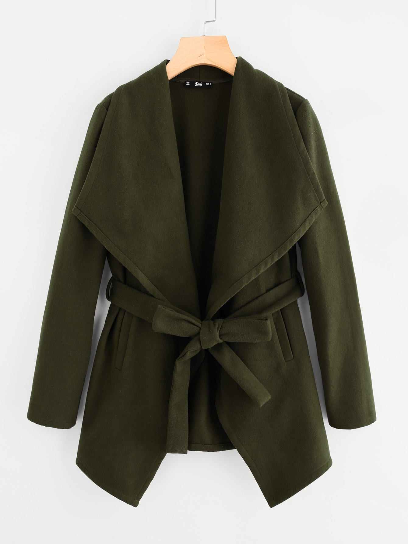 Drape Collar Self Belted Coat