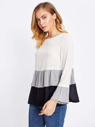Contrast Tiered Frill Hem Crochet Trim Blouse