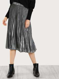 High Rise Pleated Metallic Skirt SILVER
