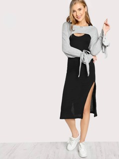 High Crop Long Sleeve Tie Sleeve Overlay Dress GREY