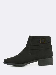 Multi Strap Faux Suede Boots BLACK
