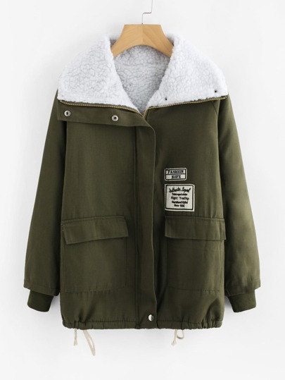 Embroidered Patch Drawstring Hem Sherpa Jacket