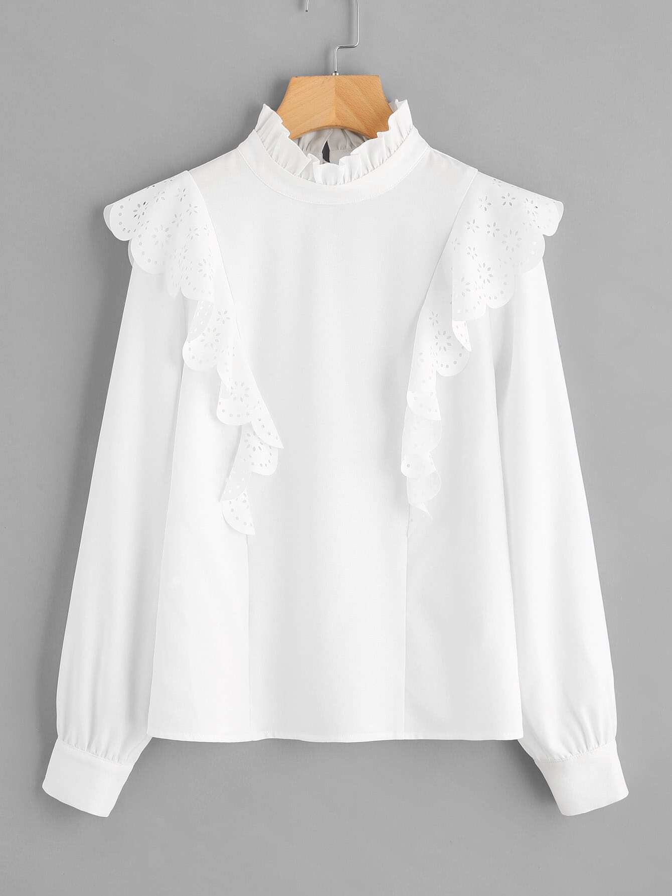 Scallop Laser Cut Detail Frilled Neck Blouse bow detail fluted sleeve laser cut scalloped blouse