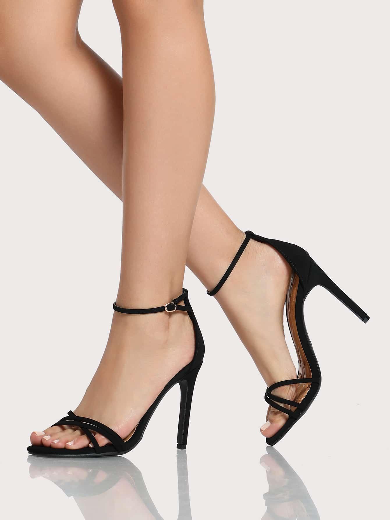 Strappy Ankle Strap Sandal Heels BLACK -SheIn(Sheinside)