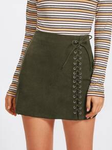 Grommet Lace Up Detail Skirt