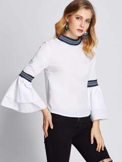 Jacquard Tape Detail Layered Fluted Sleeve Top