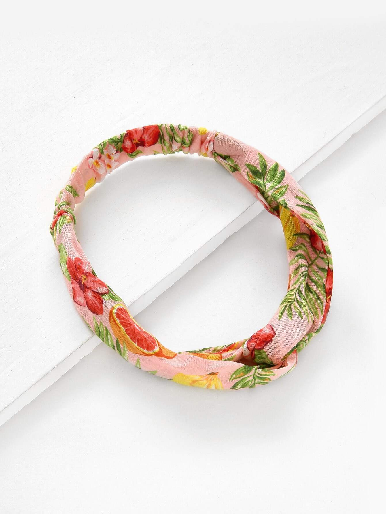 Grapefruit Print Twist Headband