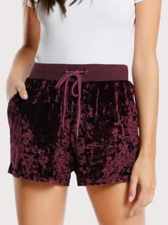 Ribbed Waist Velvet Shorts