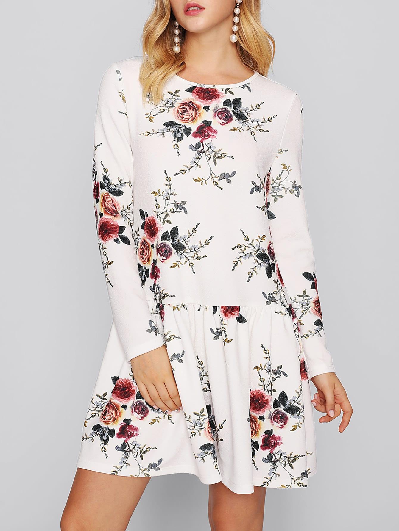 цены Flower Print Keyhole Back Drop Waist Dress