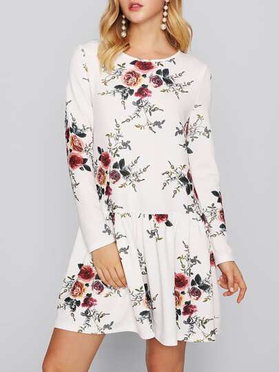 Flower Print Keyhole Back Drop Waist Dress