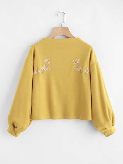 Bishop Sleeve Flower Embroidered Blouse