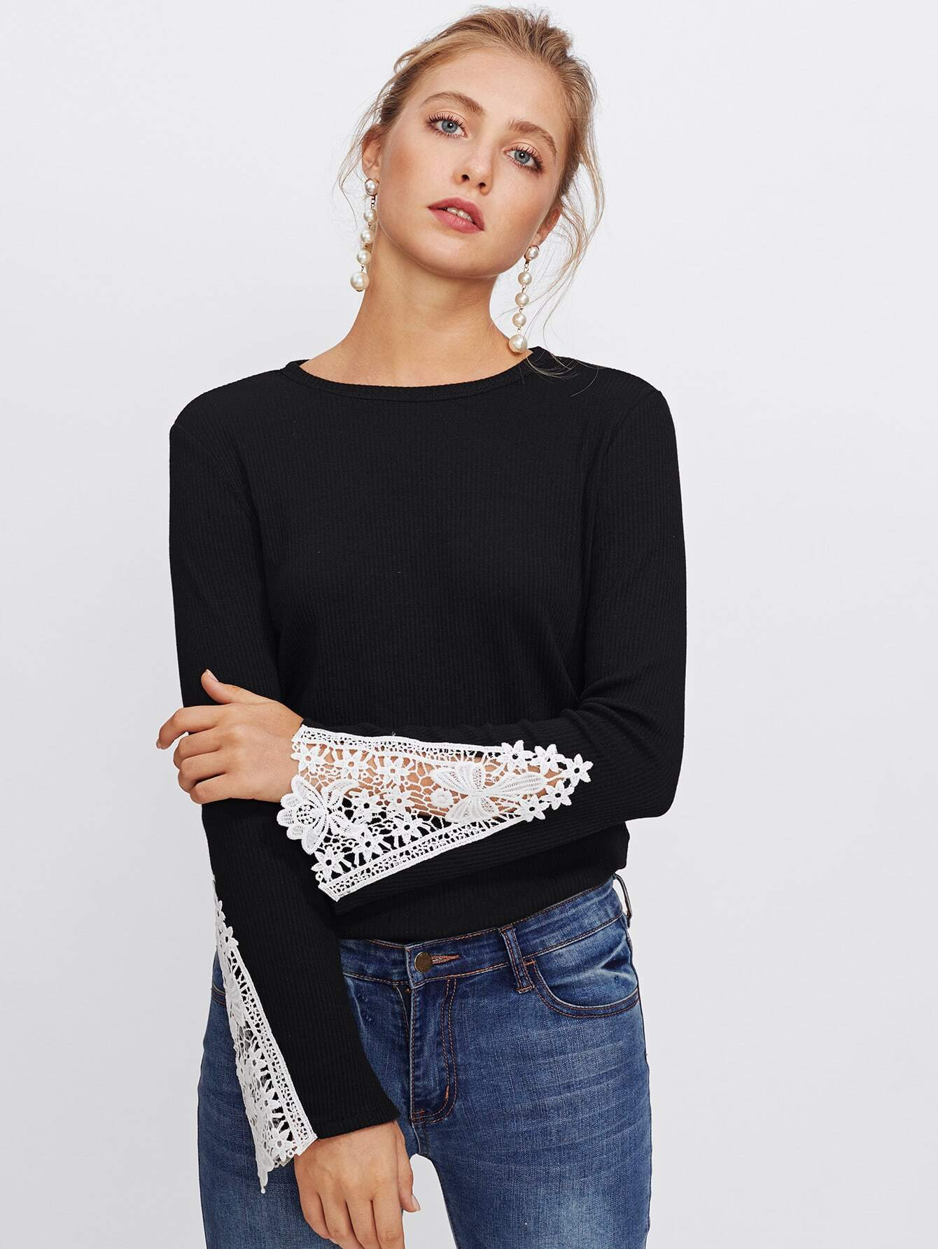Contrast Lace Bell Sleeve Ribbed Tee pearl detail layered bell sleeve ribbed top