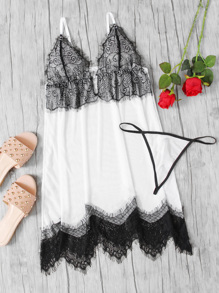 Two Tone Lace Slips Set