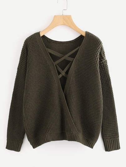 Lace Up Surplice Texture Knit Sweater