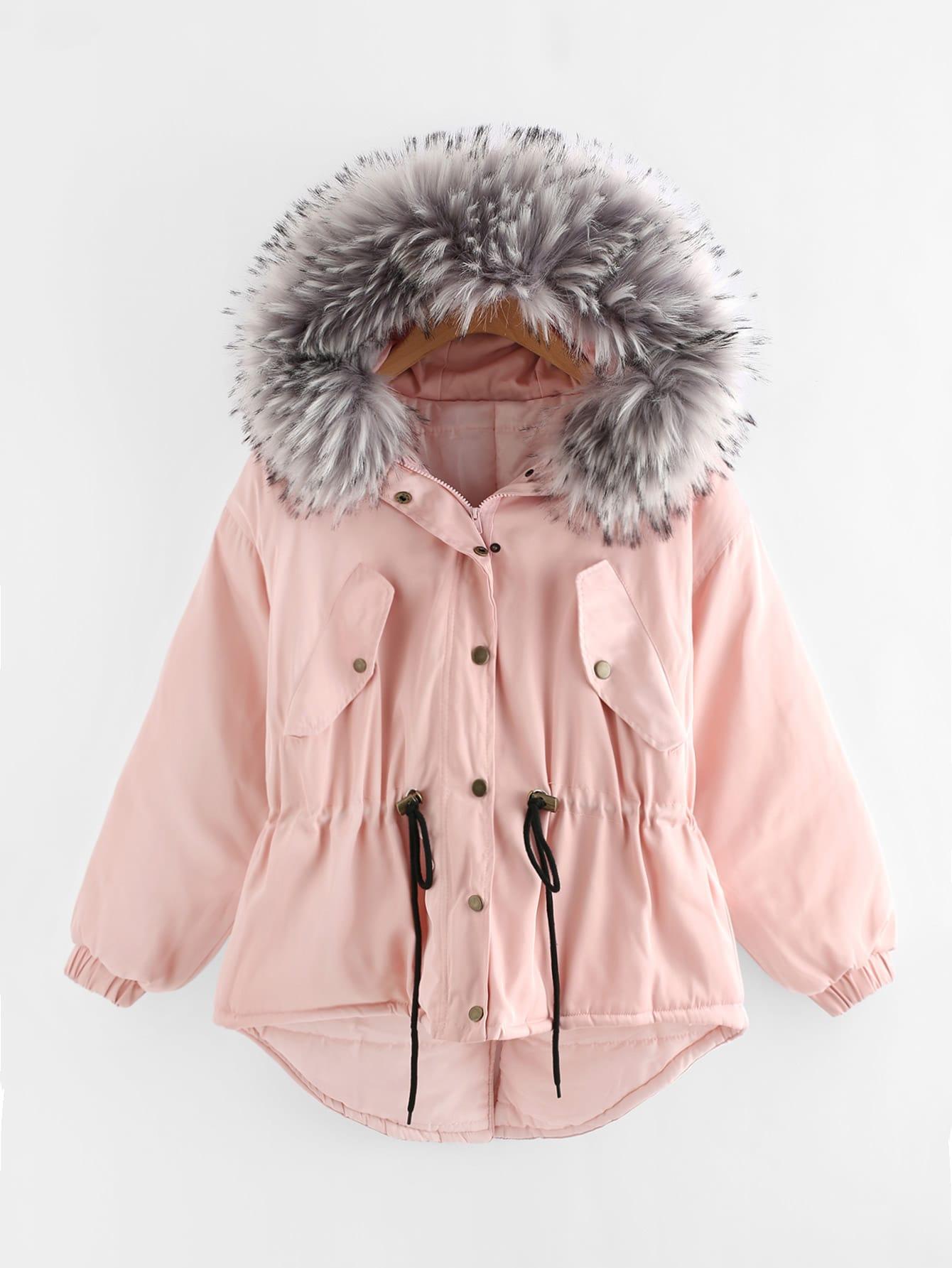 Faux Fur Hood Drawstring Waist Dip Hem Coat faux fur cuff drop shoulder raw hem sweatshirt