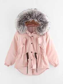 Модная асимметричная куртка с капюшоном