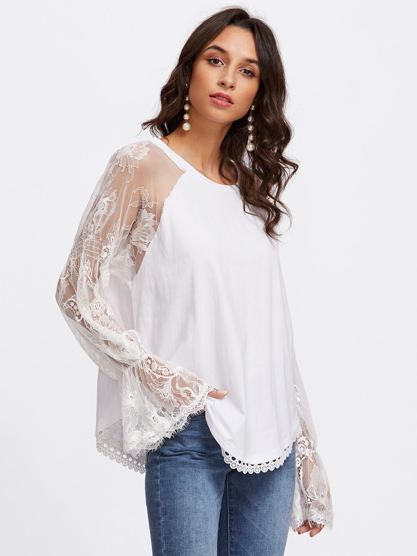 Mesh Lace Panel Fluted Sleeve Blouse hollow cut fluted sleeve bardot blouse