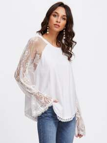 Mesh Lace Panel Fluted Sleeve Blouse