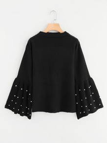 Pearl Beading Ribbed Bell Cuff Drop Shoulder Jumper